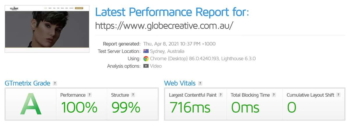 gtmetrix performance report globe creative
