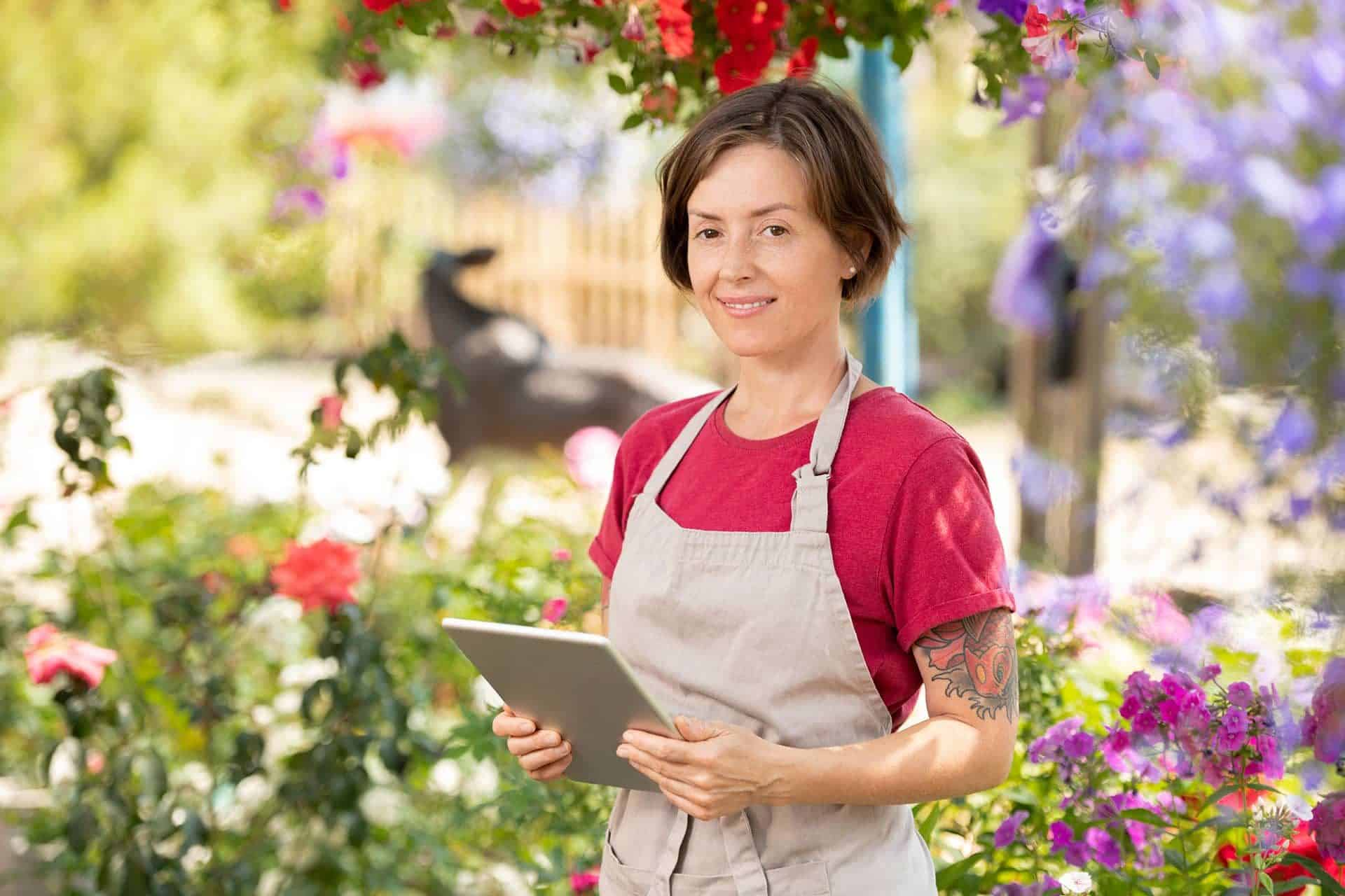 happy gardener with touchpad